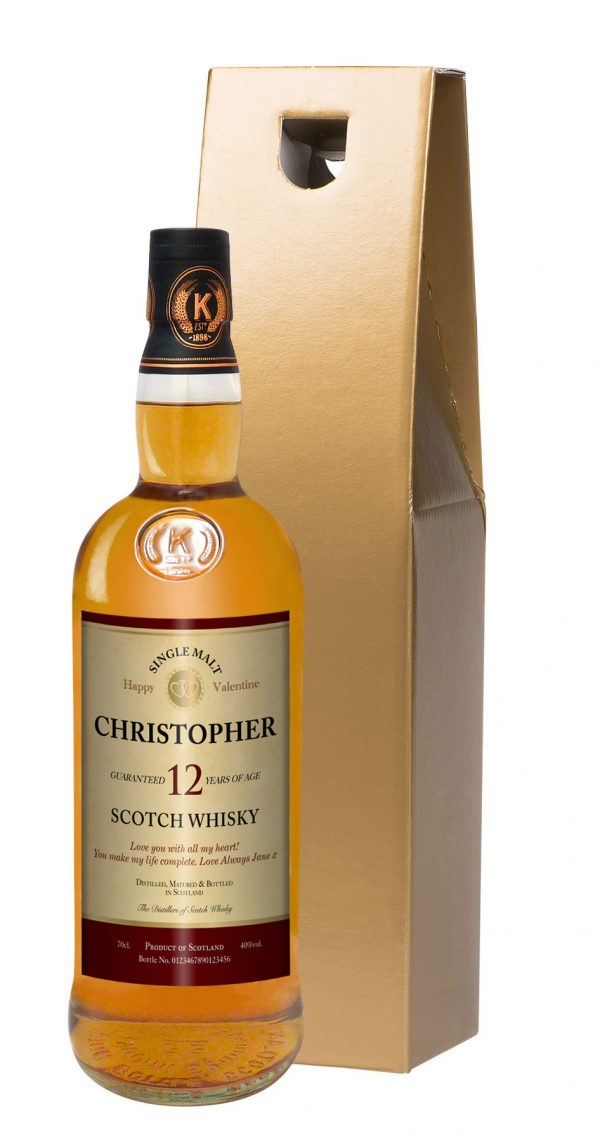 Personalised Valentine's Day 12 Year Old Malt Whisky 2