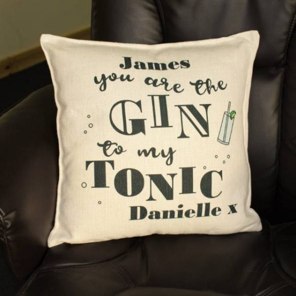 gin to my tonic personalised cushion 2
