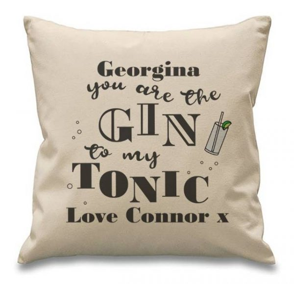 gin to my tonic personalised cushion 1