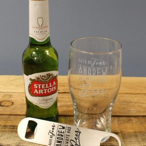 Have No Fear Stella Artois Gift Set - Personalised Pint Glass 1