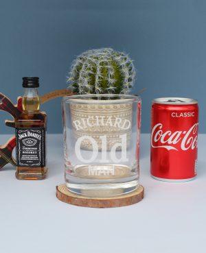 Old Man Jack Daniels Gift Set - Personalised Whiskey Glass 1