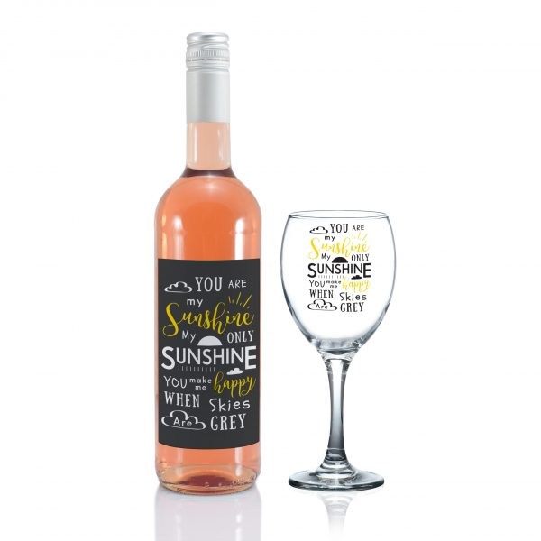 You Are My Sunshine - Personalised Wine Glass Rose 1