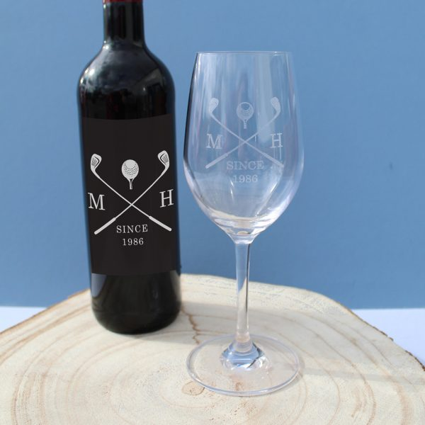 golf red wine gift set personalised bottle glass 4