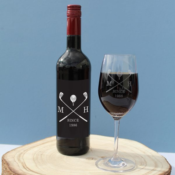 golf red wine gift set personalised bottle glass 6