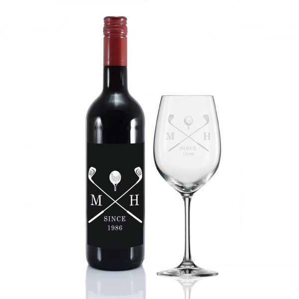 golf red wine gift set personalised bottle glass 5