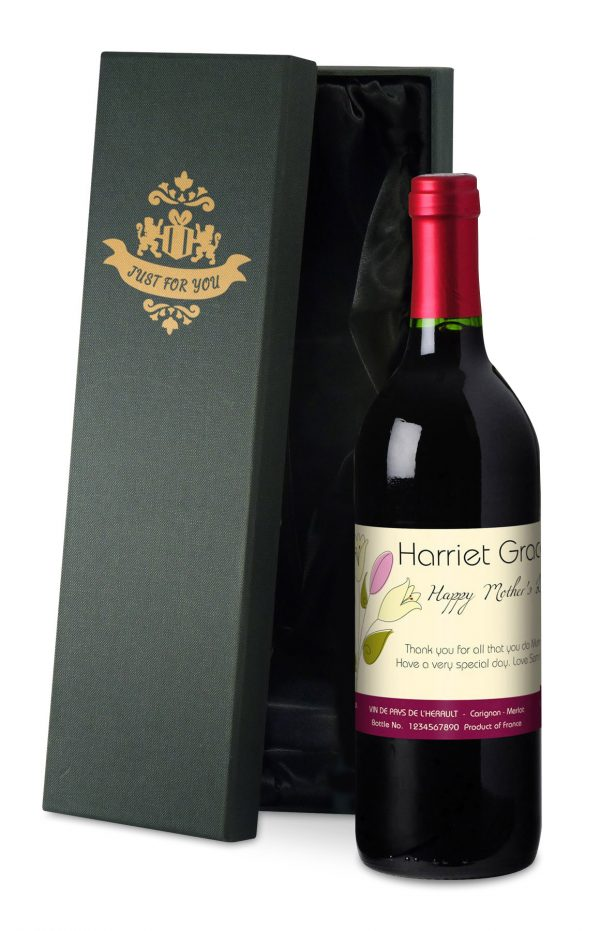 Personalised Mother's Day Bouquet Red Wine 2