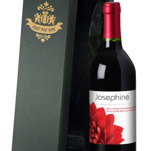 Personalised Mother's Day Dahlias Red Wine 4
