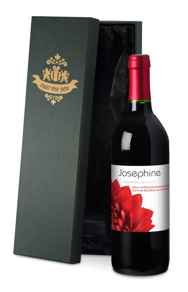 Personalised Mother's Day Dahlias Red Wine 2