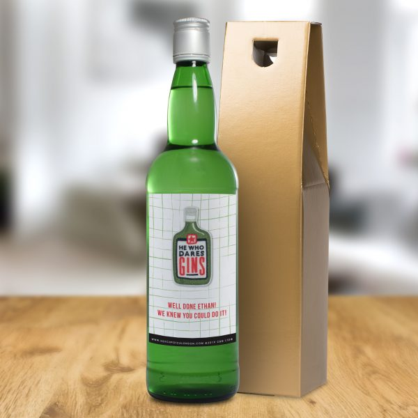 He who dares gins personalised gin bottle 4