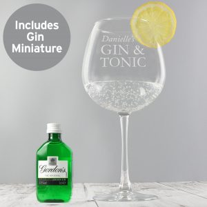 personalised gin glass with miniature 1