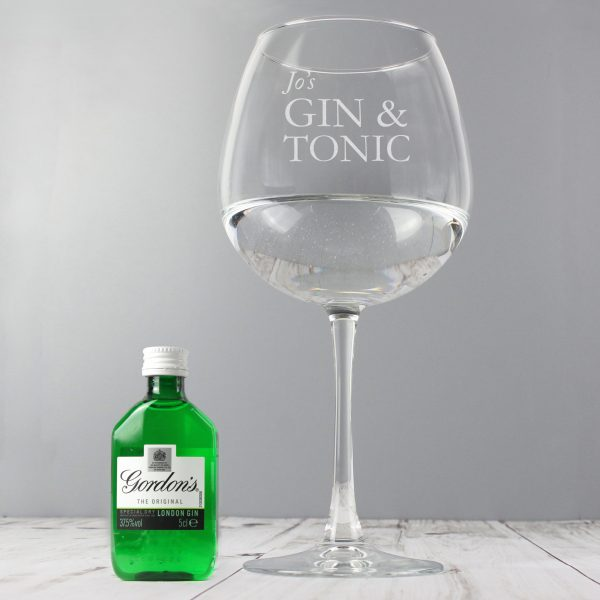 personalised gin glass with miniature 2