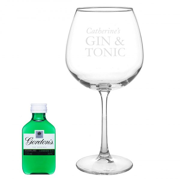 personalised gin glass with miniature 3