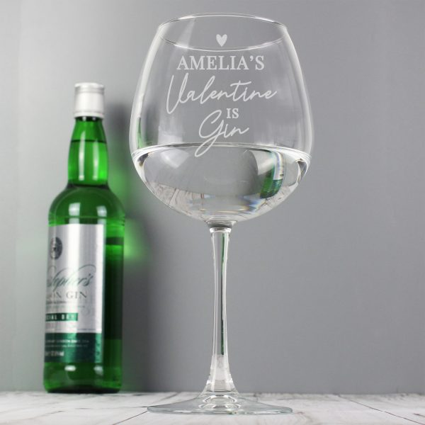 Personalised gin glass - gin is my valentine 1