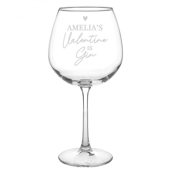 Personalised gin glass - gin is my valentine 2
