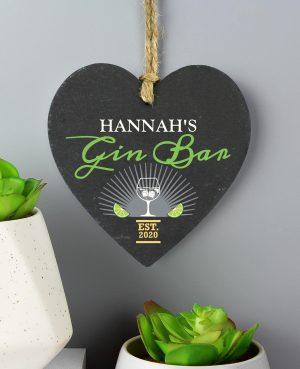 Personalised Gin Bar Slate Heart 3