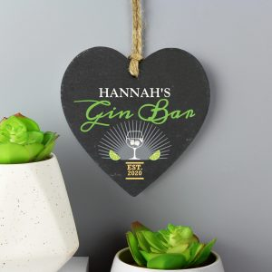 Personalised Gin Bar Slate Heart 3