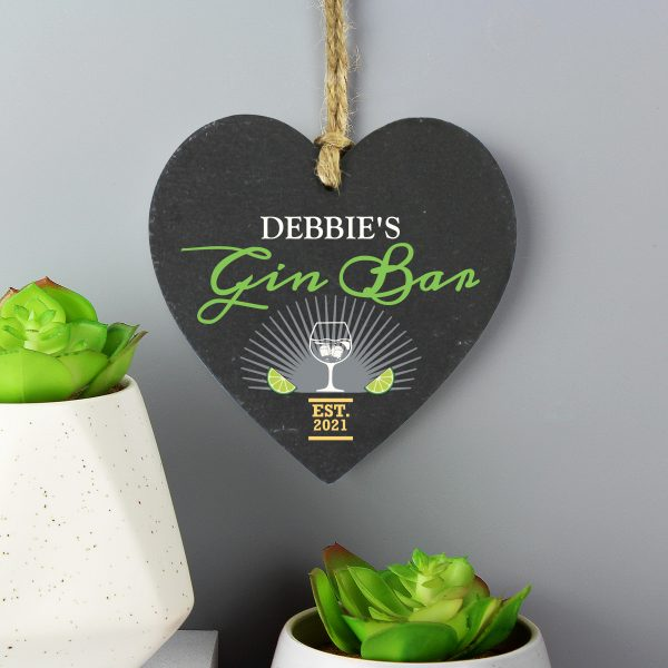 Personalised Gin Bar Slate Heart 2
