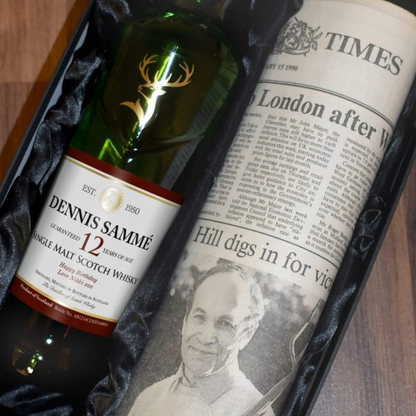 Personalised 12 Year Old Glenfiddich Whisky Bottle & Newspaper 2