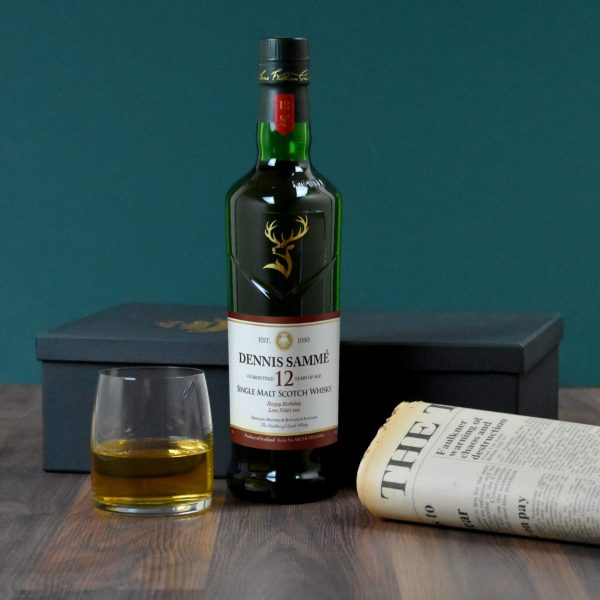 Personalised 12 Year Old Glenfiddich Whisky Bottle & Newspaper 4