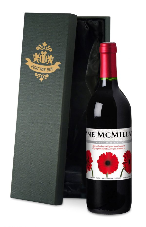 Personalised Mother's Day Gerberas Red Wine 4