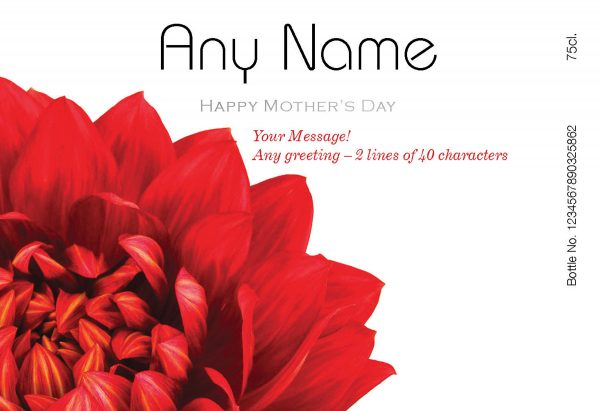 Personalised Mother's Day Dahlias Red Wine 3