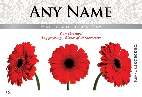 Personalised Mother's Day Gerberas Red Wine 1