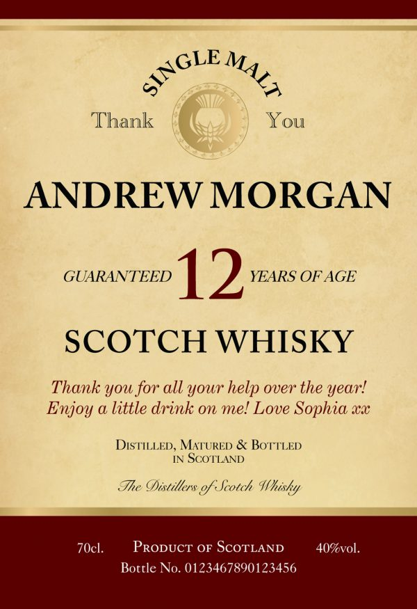 Personalised Thank You 12 Year Old Malt Whisky 1