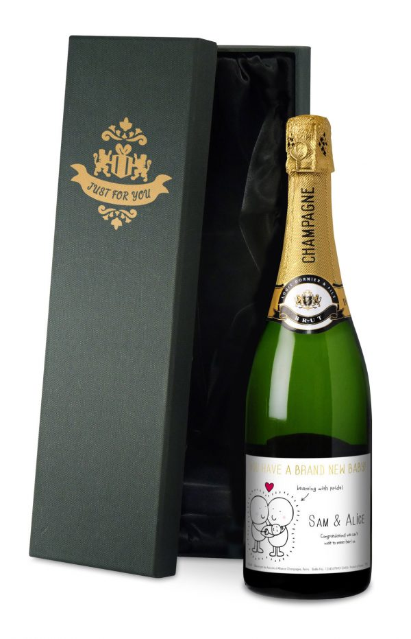 Personalised Chilli & Bubbles New Baby Champagne 2