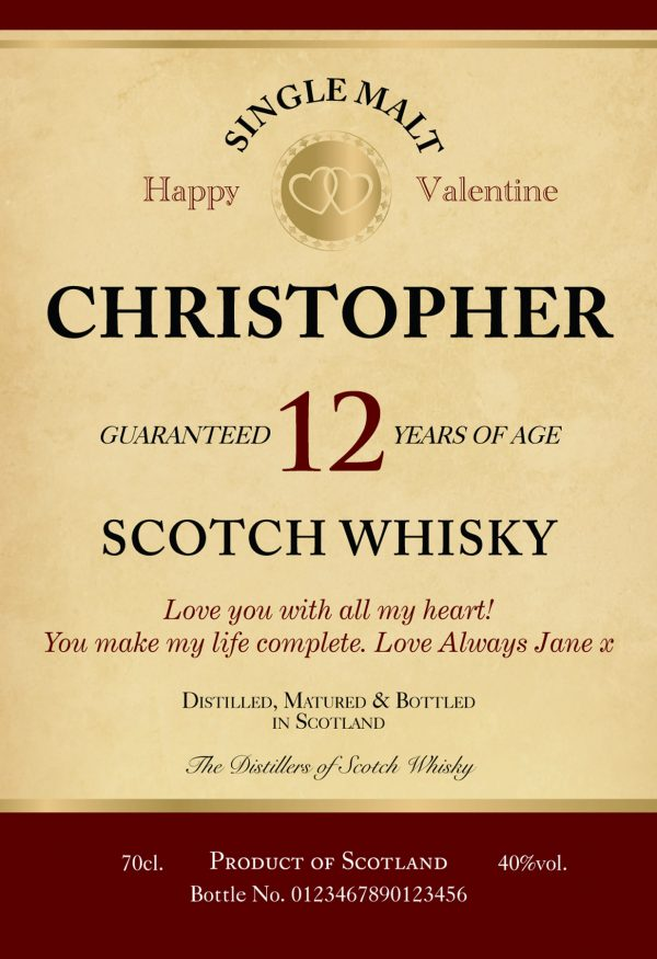 Personalised Valentine's Day 12 Year Old Malt Whisky 1